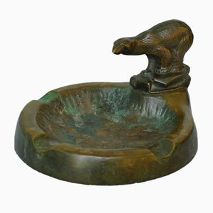 Danish Art Deco Bronze Ashtray with Polar Bear Figurine