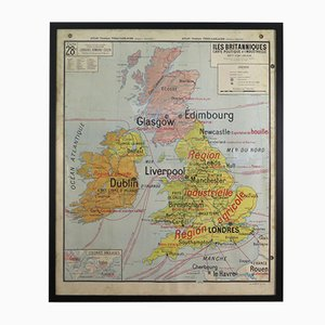 Vintage French Framed Map of England from Vidal Lablache, 1950s