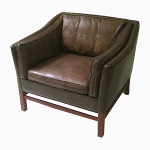 Danish Leather Teak Framed Lounge Chair, 1960s