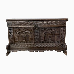 17th Century French Chest or Coffer in Carved Oak, 1689