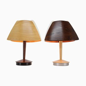 Mid-Century French Wooden Table Lamps from Lucid, 1970s, Set of 2