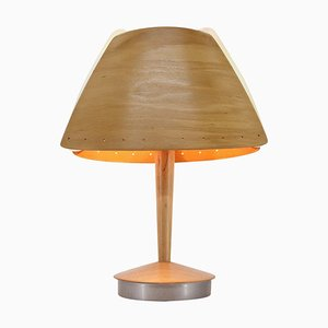 Mid-Century French Wooden Table Lamp from Lucid, 1970s