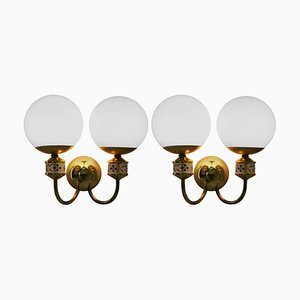 Mid-Century Brass Wall Lights or Sconces from Kamenicky Senov, 1970s, Set of 2