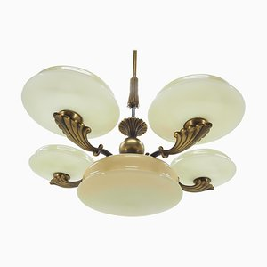 Large Art Deco Brass Chandelier, 1920s