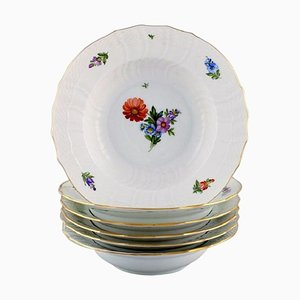 Royal Copenhagen Light Saxon Flower Deep Plates in Hand-Painted Porcelain, Set of 6