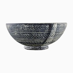 Bowl in Grey-Black Double Glazed Stoneware from Kähler, Denmark, 1930s