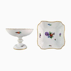 Royal Copenhagen Light Saxon Flower Compote and Bowl in Hand-Painted Porcelain, Set of 2
