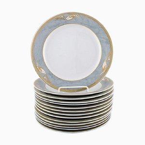 Royal Copenhagen Gray Magnolia Porcelain Lunch Plates, Set of 14