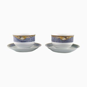Royal Copenhagen Gray Magnolia Sauce Boats in Porcelain, Set of 2