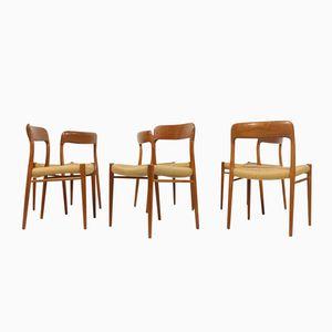 Model 75 Teak Dining Chairs by Niels O. Møller for J.L. Möller, Set of 6