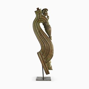 Teak Sculpture on Metal Stand, 1930s