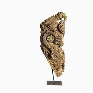 Teak Skulptur auf Metallständer, 1930er