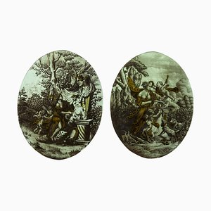 Small 19th Century Neoclassical Stained Glasses, Set of 2
