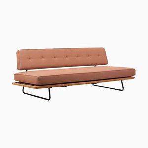 Sofá cama minimalista de haya y metal de Rolf Grunow para Knoll, años 50