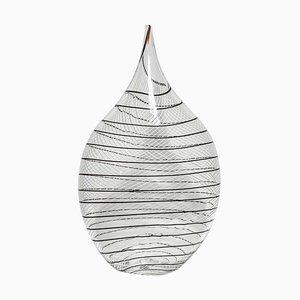 Mundgeblasene Klarglas Vase mit schwarzem Filigrana Glas von Alberto Dona