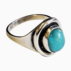 Oval Turquoise Stone Silver Ring by Sven Holmström, Sweden, 1950s