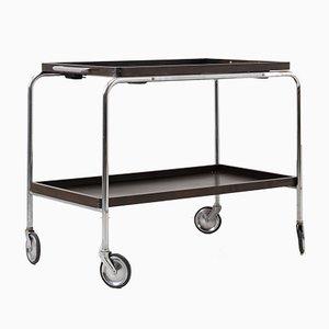 Art Deco Bar Cart with Dark Wood Trays