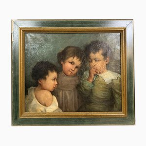 19th Century French School 3 Little Girls Oil on Canvas