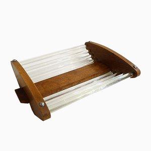 Cesto per tubi vintage in legno e vetro
