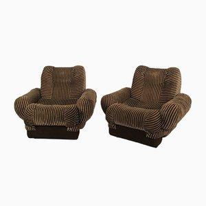 Vintage Brown Velvet Lounge Chairs, 1970s, Set of 2