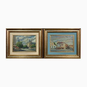 Views of Paris le Châtelet & rue de Sèvres by Pietro Boyer, 1971, Set of 2