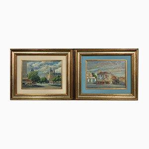 Vistas de Paris le Châtelet & rue de Sèvres de Pietro Boyer, 1971. Juego de 2