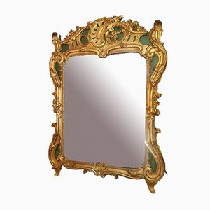 Gold & Green Painted Mirror Louis XV Mirror