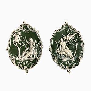 Antique Wedgwood Angel Medallions, Set of 2