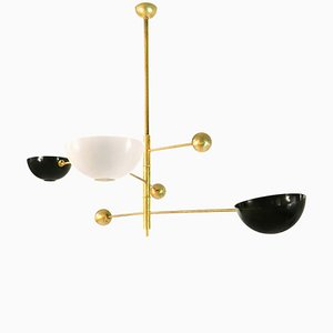Italian Brass Mobile Ceiling Lamp, 1970s