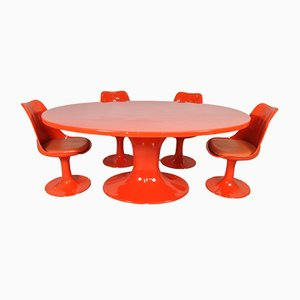 French Oval Dining Table & Chairs Set in Fiberglass, 1970s