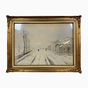 Großer Schneetag im Piemont Aquarell von Tano Zaccari, 1931