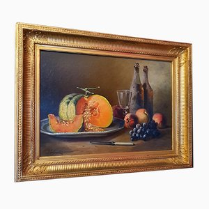 Oil on Canvas Still Life by Lachenal, 19th-Century