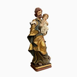 18th Century Wooden Saint Joseph & Baby Jesus Statue in Polychrome and Gilding
