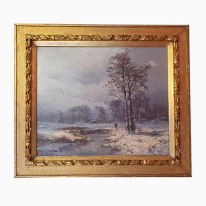 Vintage Oil on Canvas Winter Scene Painting, 20th-Century