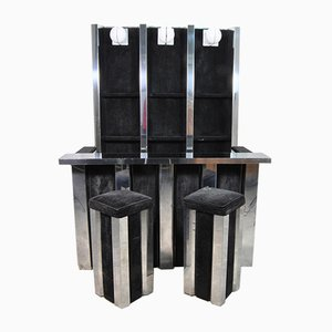 Italian Steel and Velvet Bar Cabinet with Back Panel, Refrigerator, Bar & Stools Set, 1970s, Set of 4