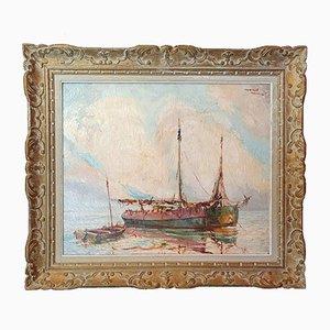 Peinture à l'Huile Vintage Marine sur Toile par Marcel Abougit