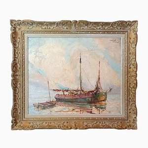 Vintage Oil on Canvas Navy Painting by Marcel Abougit