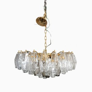 Transparenter Goldfarbener 24k Muranoglas Poliedro Kronleuchter von Italian Light Design