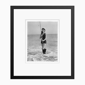 Ava Gardner Fishing in Her Swimming Suit Archival Pigment Print Framed in Black by Everett Collection