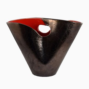 Vintage Black & Red Model Corolle Vase by Elchinger