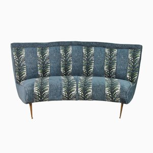 Italian Semicircular Sofa with Feet in Brass, 1950s