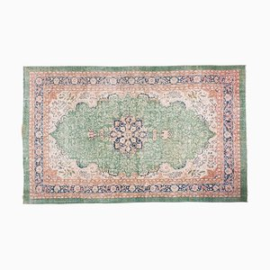 Vintage Turkish Green Oushak Living Room Rug, 1970s