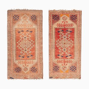 Small Turkish Traditional Distressed Handmade Door Mats, 1970s, Set of 2