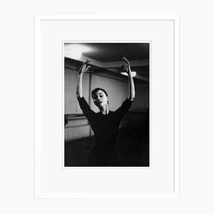 Audrey Hepburn Graceful Dancer Silver Gelatin Resin Print Framed in White by Hulton Archive