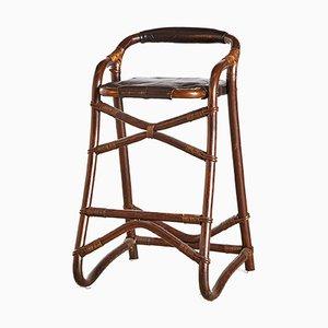 Vintage Wood & Leather Seat Stool, 1960s