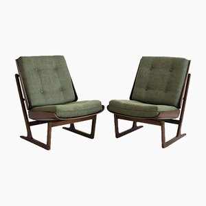 Mahogany Lounge Chairs Attributed to Grete Jalk, 1950s, Set of 2