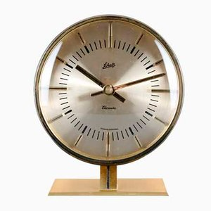 Brass Elexacta Table Clock from Schatz, 1960s