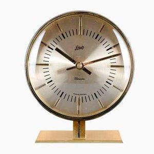 Reloj de mesa Elexacta de latón de Schatz, años 60
