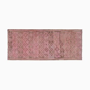 Large Soft Pink Color Hall Kilim Runner Rug, 1970s