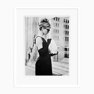 Audrey Hepburn Lunch on Fifth Avenue Silver Gelatin Resin Print Framed in White by Keystone Features